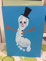 footprint snowman winter craft kids winter rescue pinterest