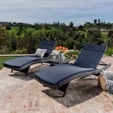 Patio Furniture Chaise Lounge Luana Outdoor 3 Piece Wicker Adjustable Chaise Lounge Set With