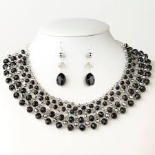 jewelry crystal necklace silver images Silver black silver faceted glass crystal earrings only e 9527 jpg