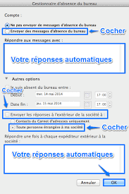absence du bureau outlook configuration client répondeur mail pc owa mac code42