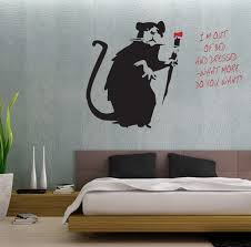 banksy style i u0027m out of bed painting rat wall art sticker decal ebay