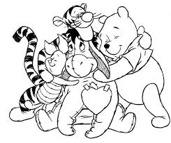 winnie the pooh checking frog coloring page cartoon coloring