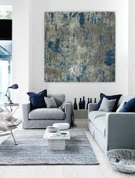 Living Room Art Canvas by Large Abstract Painting Teal Blue Navy Grey Gray White Canvas Art