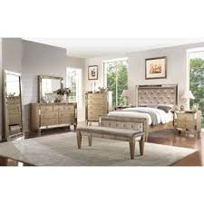 celine 5 piece mirrored and upholstered tufted queen size bedroom
