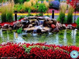 beautiful flower gardens waterfalls home