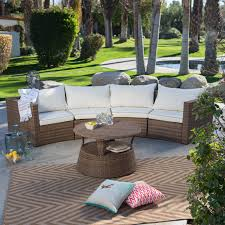 durable 3 piece rattan outdoor sectional sofa set terracotta