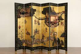 6 panel room divider sold chinese 6 panel carved lacquer coromandel gold leaf vintage