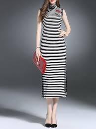 black sleeveless turtleneck slit stripes maxi dress stylewe com