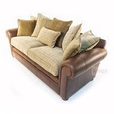 Wade Leather Sofa Leather Sofa With Fabric Seat Cushions Leather Sofa