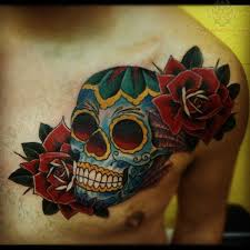 sugar skull with roses on chest