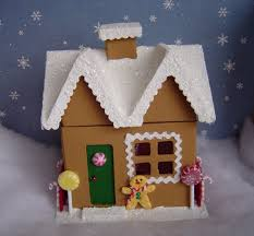 christmas paper mache gingerbread house 7 inches 20 00 via etsy