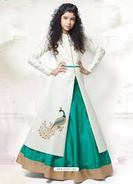 buy sizzling cream teal green indo western dress