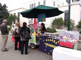 reindeer sausage stand outside parks building picture of