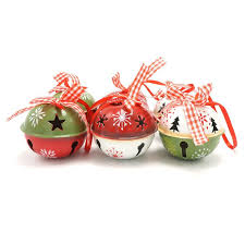tree decorations green white metal jingle bell with