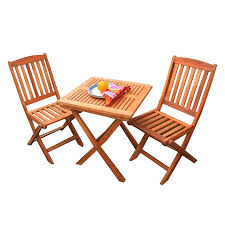 Eucalyptus Outdoor Table by Shop Vifah Glaser 3 Piece Eucalyptus Bistro Patio Dining Set At