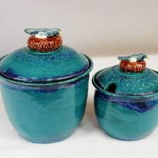 wild blue fire wild crow farm wild blue fire canister set with blue birds on nests