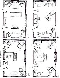 Furniture Sizes For Floor Plans Arranging Furniture In A 15 Foot Wide By 25 Foot Long Bedroom