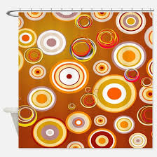 Circles Shower Curtain Orange Blue Circles Shower Curtains Cafepress