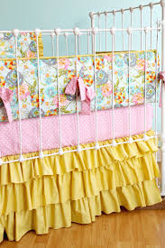 Pink And Aqua Crib Bedding Floral Baby Bedding Mustard Yellow Baby Bedding Pink