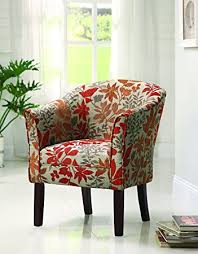 Amazoncom Coaster Floral Barrel Back Accent Chair Kitchen - Floral accent chairs living room