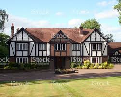 tudor home large white and brown british tudor house stock photo 147285187