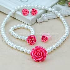 girls necklace images Kids girls child pearl flower shape necklace bracelet ring ear jpg