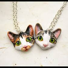 cat necklace images Cat portrait necklace png