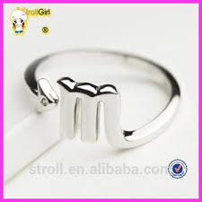 ebay rings silver images M letter simple and delicate silver ring 325 ebay china website jpg
