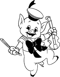 little pig violin coloring page wecoloringpage