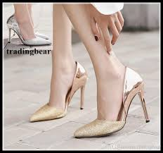 Wedding Shoes Sandals High Heels Prom Wedding Shoes Women 2018 Glitter Silver Gold