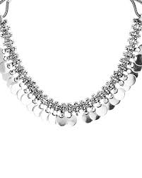necklace silver online images Buy oxidized silver textured coin necklace online india voylla jpg