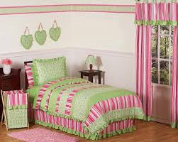 Pink And Lime Green Bedroom - pink lime green ruffle girls bedding twin full queen