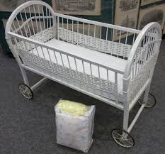 Wicker Crib Bedding Antique Vintage White Wicker Baby Bassinet On Wheels Bedding