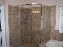 clssic bathroom with frameless corner shower stalls and round