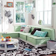 Mint Green Home Decor Mint Green L Shaped Sofa And Floral Printed Rug For Classic