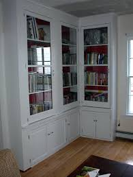 Bookcase With Drawers White Stained Wooden Planted L Shaped Wall Cabinet Bookshelf