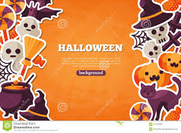 halloween back drop halloween concept banner with flat icon on orange stock vector