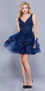 deep v neck appliqued bodice ruffled skirt short prom dress navy