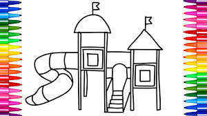 how to draw and color playground for kids row row row your boat