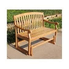teak outdoor glider bench wooden garden double seat patio porch