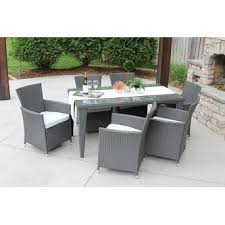 7pc Patio Dining Set 7pc Outdoor Gray Wicker Patio Dining Set Std Rectangle Free