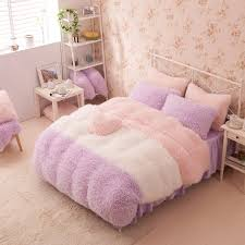 Cheap Purple Bedding Sets Purple White Pink Wool Velvet Ruffle Size