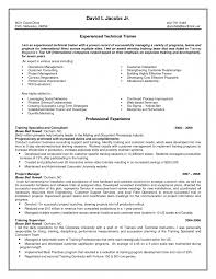 professional resumes sle technical trainer resume sle resumes templates technical trainer