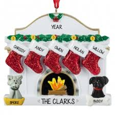 family of 5 2 pets white fireplace ornament personalized