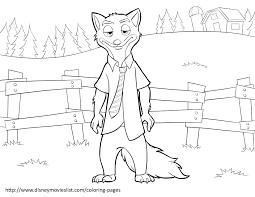 disney u0027s zootopianick wilde coloring page zootopia coloring