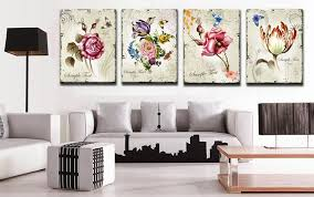 home interior prints 4 pieces classic floral wall canvas prints flower combination