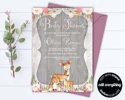 rustic baby shower invitation template baby shower invite