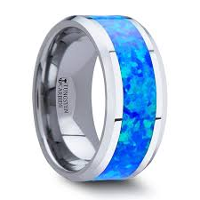 blue titanium wedding band men s tungsten wedding band with blue green opal inlay titanium buzz
