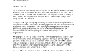 unique sample cover letter for administrative assistant with no