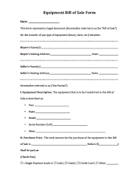equipment bill of sale form download create edit fill and print
